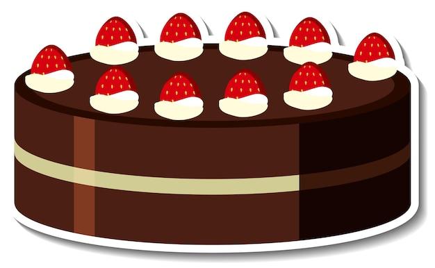 Chocoladetaart met aardbei sticker geïsoleerd op een witte achtergrond