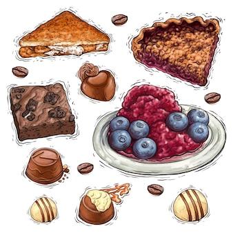 Chocoladetaart met noten en bessen dessert aquarel illustratie