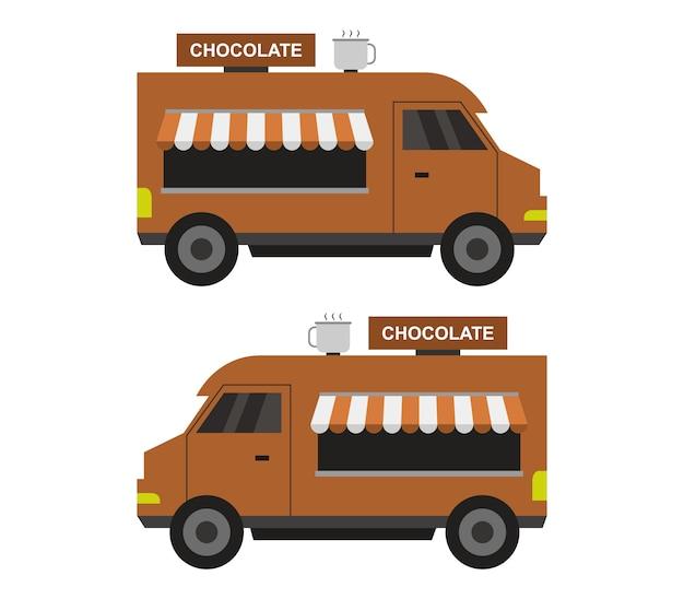 Chocoladevrachtwagen op wit