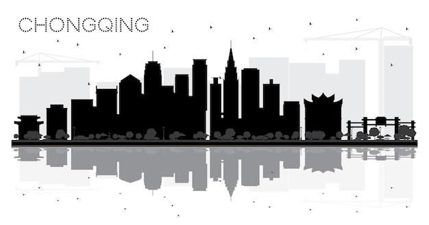 Chongqing china city skyline zwart-wit silhouet met reflecties. vector illustratie. zakelijk reisconcept. stadsgezicht met bezienswaardigheden.