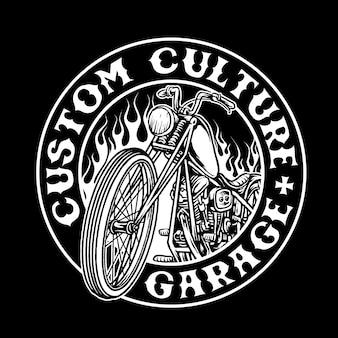 Chopper fiets aangepaste motorfiets vector badge