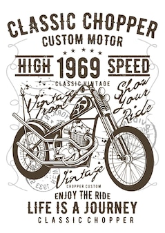 Chopper, vintage illustratie poster.