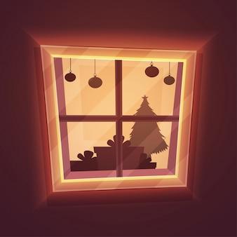 Christams vieringen voorbereiding uitzicht vanuit een raam