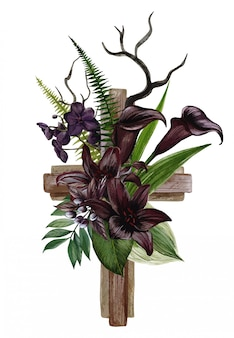 Christelijk houten kruis versierd met zwarte lelies en callas