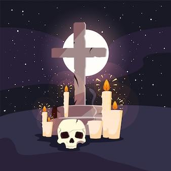 Christelijk kruis met maan in scène van halloween