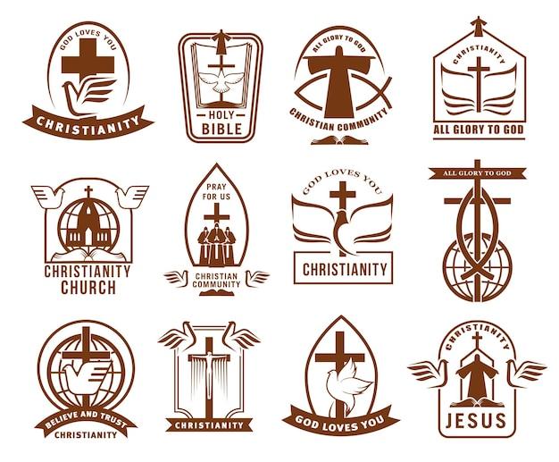 Christelijke gemeenschap, kerk of missie iconen set.