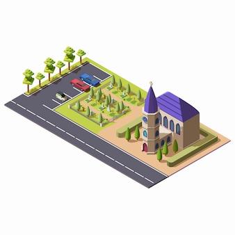 Christelijke katholieke kerk met kapel dichtbij begraafplaats en autoparkeren in isometrische stijl