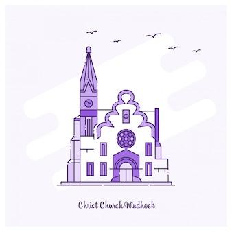 CHRISTELIJKE KERK WINDHOEK Oriëntatiepunt Paarse skyline met stippellijnen