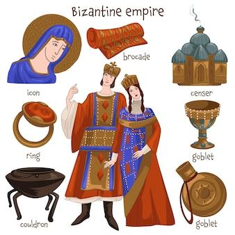 Christendom en mensen die in het byzantijnse rijk leven, meubels en persoonlijke bezittingen. ring en icoon, beker en ketel, wierookvat en brokaat. sieraden en kleding, keukengerei. vector in vlakke stijl