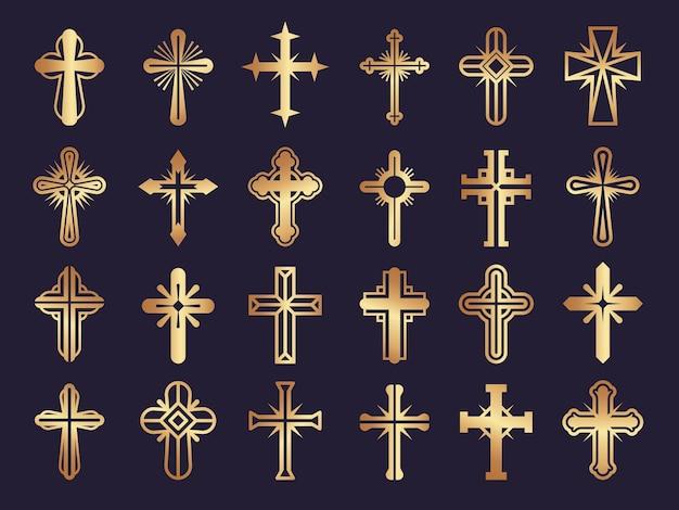 Christenen steken over. religie symbolen jezus katholicisme tribale authentieke pictogrammen instellen. Premium Vector