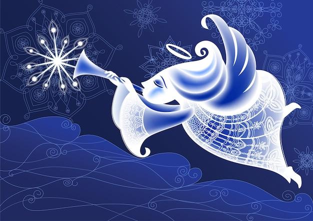 Christmas angel vliegt en speelt de trompet. vakantiebanner