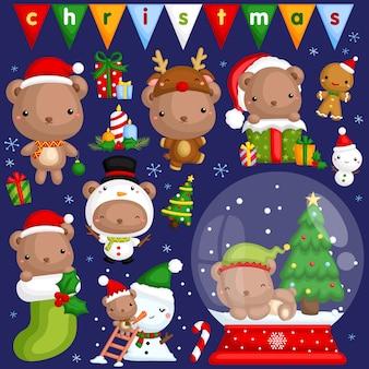 Christmas bear-afbeeldingenset