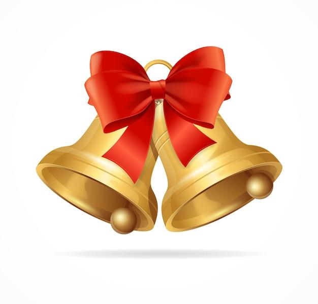 Christmas bell geïsoleerd op een witte achtergrond.