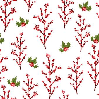 Christmas berry bloem vector naadloze patroon.