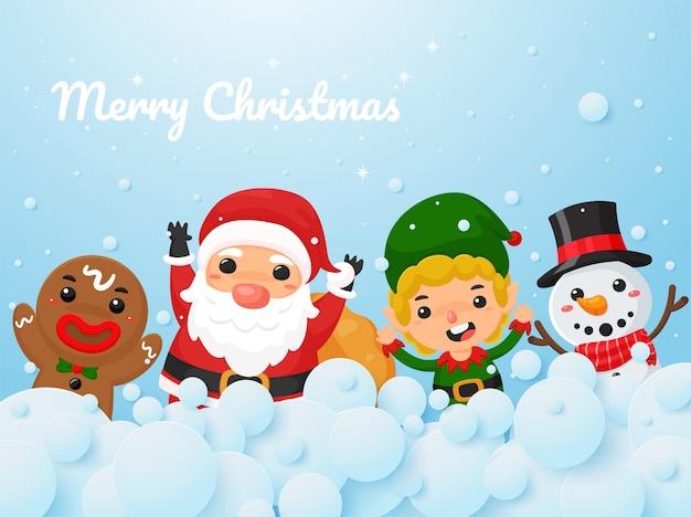 Christmas cartoon vector santa's stripfiguren, rendieren, elfjes en sneeuwmannen geven kerstcadeautjes.