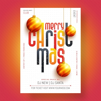 Christmas celebration party poster, banner of flyer design.