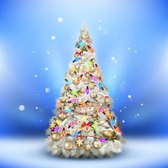Christmas frost fir tree op lichtblauw.