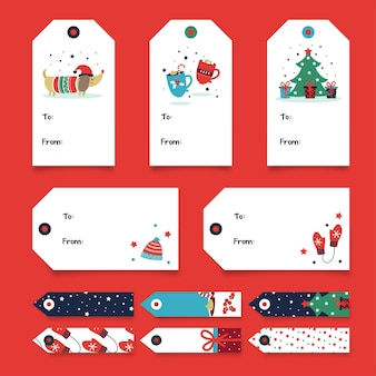Christmas gift tag-collectie - hond en boom
