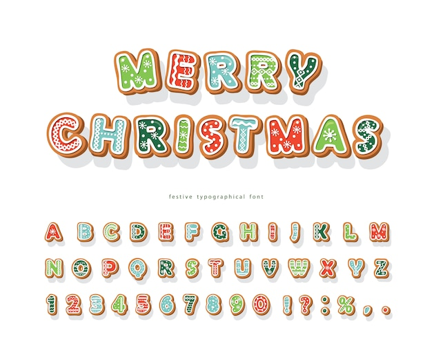 Christmas gingerbread cookie-lettertype.