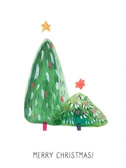 Christmas green tree-wenskaart