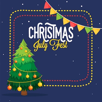 Christmas july fest-flyer met kerstboom.