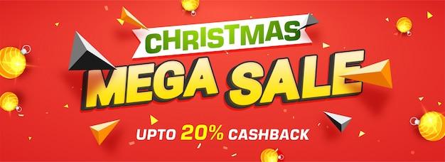 Christmas mega sale-banner met 20% cashback-aanbieding
