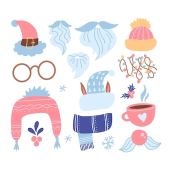 Christmas new year collectie set items. vlakke afbeelding op witte geïsoleerde achtergrond. kerstman stemmingselementen. xmas face constructor met baard, hoed, snor, beker, bril