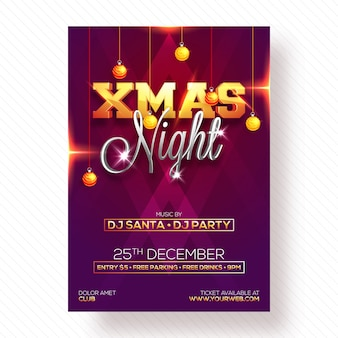 Christmas night party celebration poster, banner of flyer design.