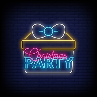 Christmas party neon signs style text vector