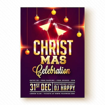 Christmas party poster, banner of flyer design.