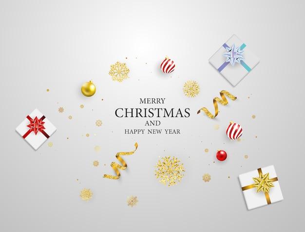 Christmas party poster en gelukkig nieuwjaar achtergrond.