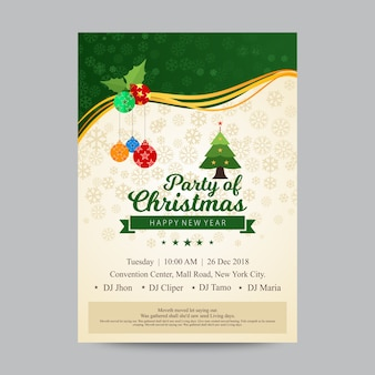Christmas party poster of flyer ontwerpsjabloon
