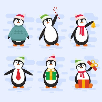 Christmas penguin character pack in plat ontwerp