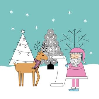 Christmas santa check lijst geschenken rendieren en boomviering