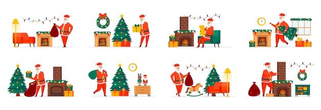 Christmas santa claus-bundel scènes