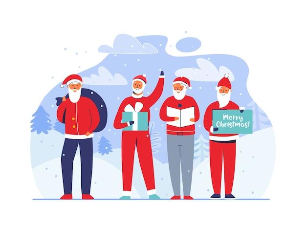 Christmas santa claus op besneeuwde achtergrond. leuke platte wintervakantie tekens. gelukkig nieuwjaar wenskaart met kerstman en geschenken.