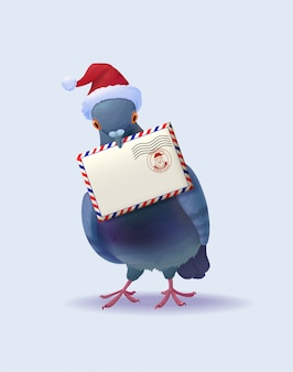 Christmas santa claus post pigeon