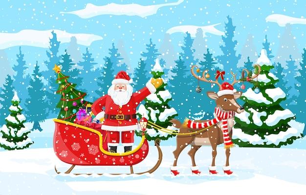 Christmas santa claus rijdt rendieren slee