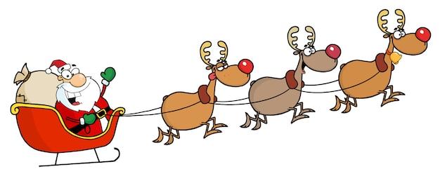 Christmas santa clause sleigh en rendieren