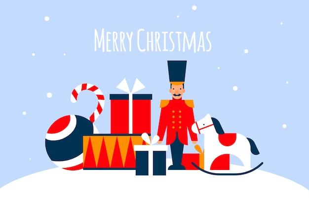 Christmas speelgoed achtergrond in platte ontwerp