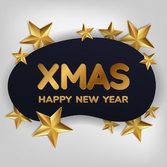 Christmas wenskaart, achtergrond. gouden kerstbal en ster. gelukkig nieuwjaar. Premium Vector