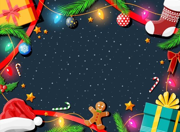 Christmas wenskaart achtergrond Premium Vector