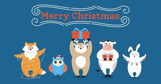 Christmas wenskaart, cartoon stier vos, herten uil en haas karakter
