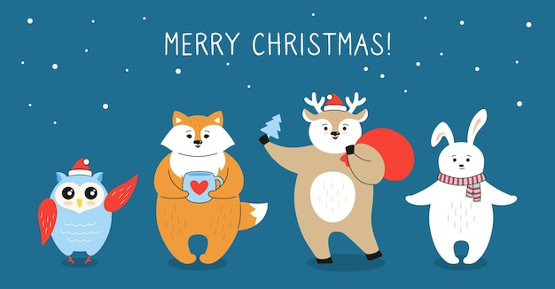 Christmas wenskaart, cartoon vos, herten uil en haas karakter met geschenkdoos, kerstman tas