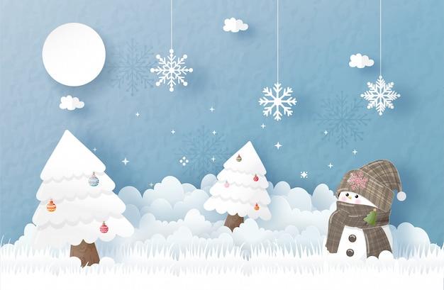 Christmas wenskaart in papier gesneden stijl. vector illustratie