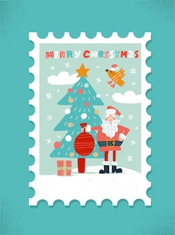 Christmas wenskaart. kerstman met rode zak en kerstboom.