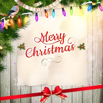 Christmas wenskaart licht en sneeuwvlokken achtergrond. vrolijke kerstvakantie wensen ontwerp en vintage ornamentdecoratie. gelukkig nieuwjaar bericht.