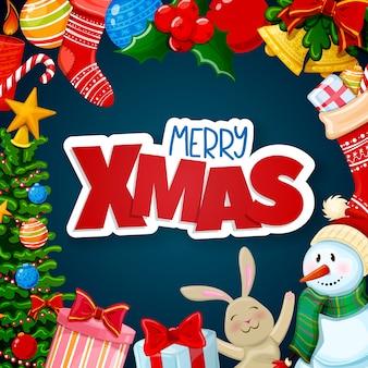Christmas wenskaart, merry xmas decoraties
