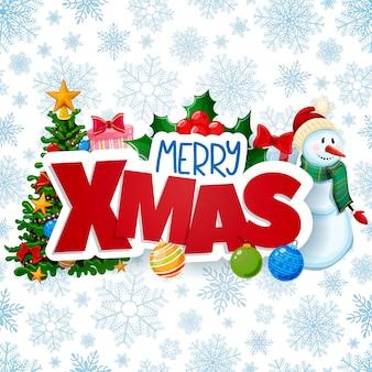 Christmas wenskaart, merry xmas decoraties.