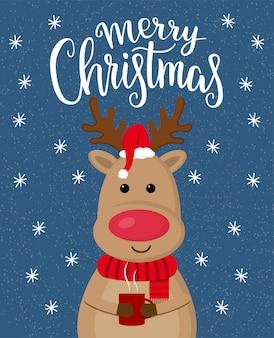 Christmas wenskaart met cartoon schattige herten met kopje koffie.